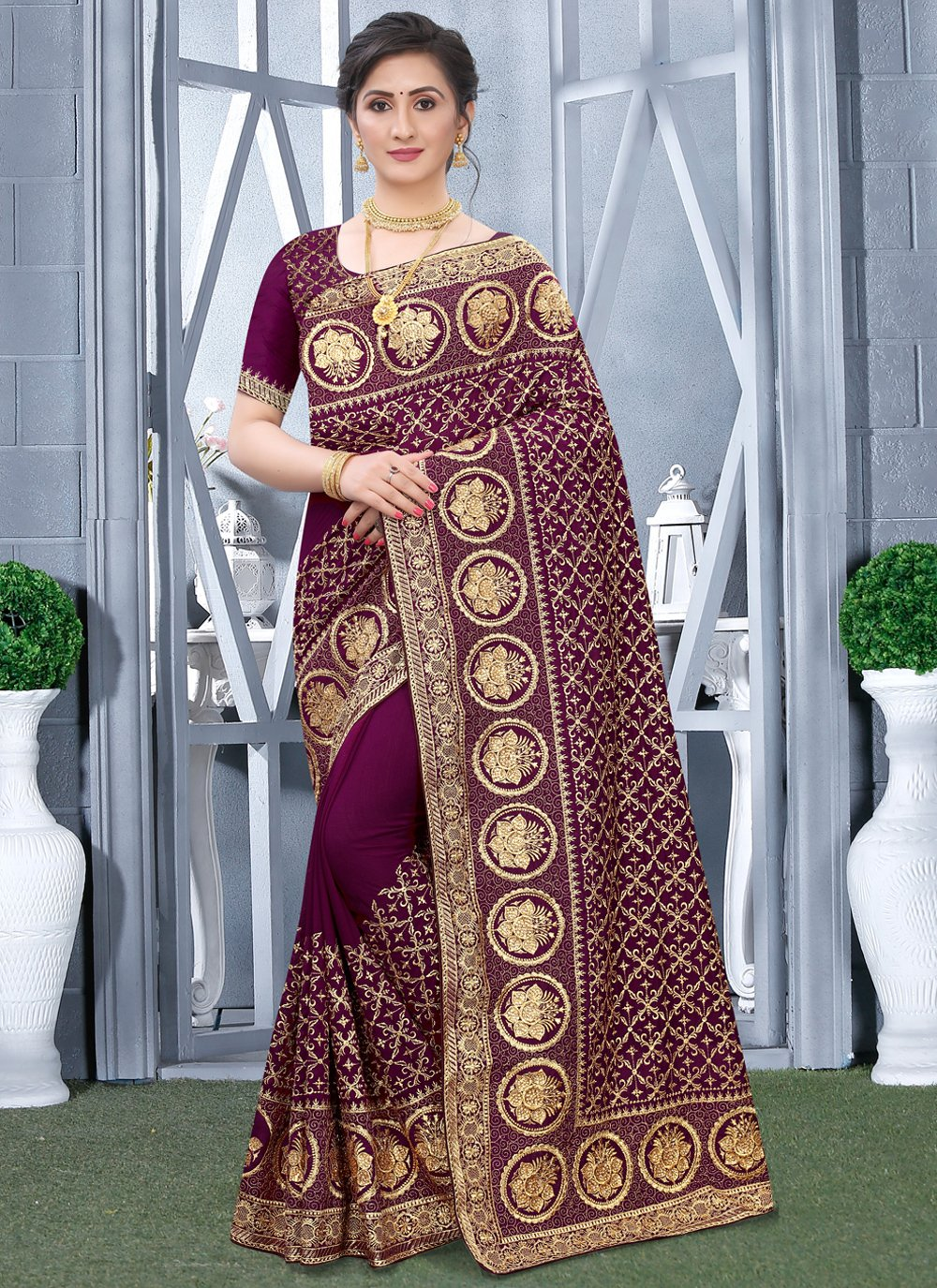 Fancy Fabric Festival Designer Traditional Saree
