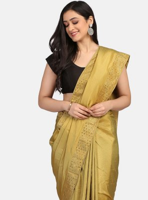 Fancy Fabric Gold Stone Work Classic Designer Saree