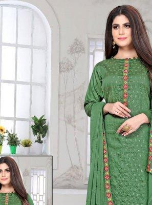Fancy Fabric Green Churidar Designer Suit
