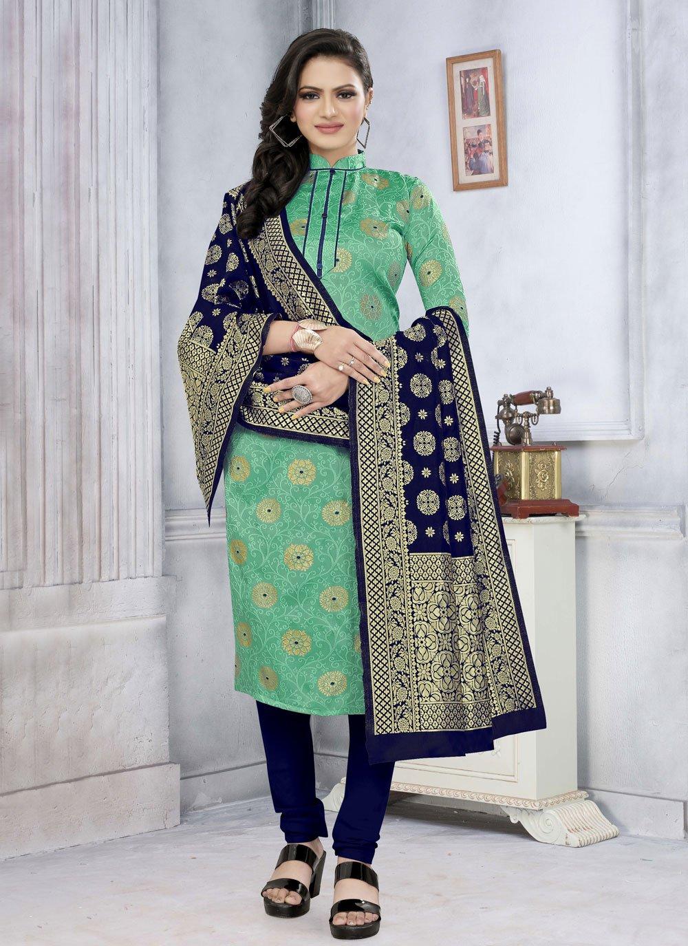 Fancy Fabric Green Churidar Suit