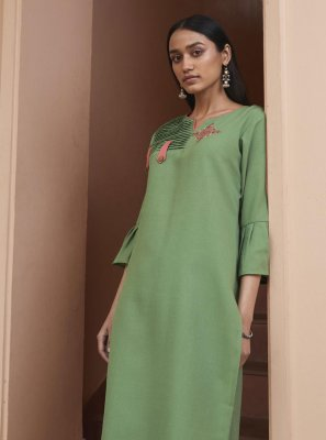 Fancy Fabric Green Embroidered Party Wear Kurti