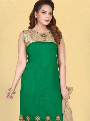 Fancy Fabric Green Embroidered Readymade Suit