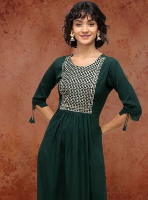 Fancy Fabric Green Party Wear Kurti