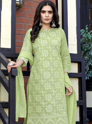 Fancy Fabric Green Sequins Readymade Suit