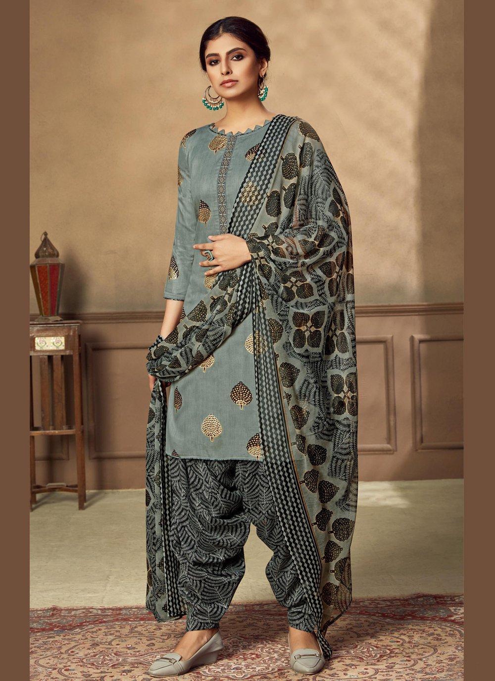 Fancy Fabric Grey Designer Patiala Suit