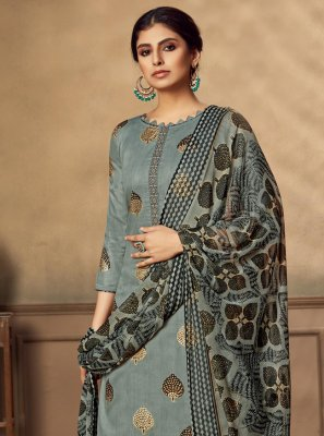 Fancy Fabric Grey Designer Patiala Suit