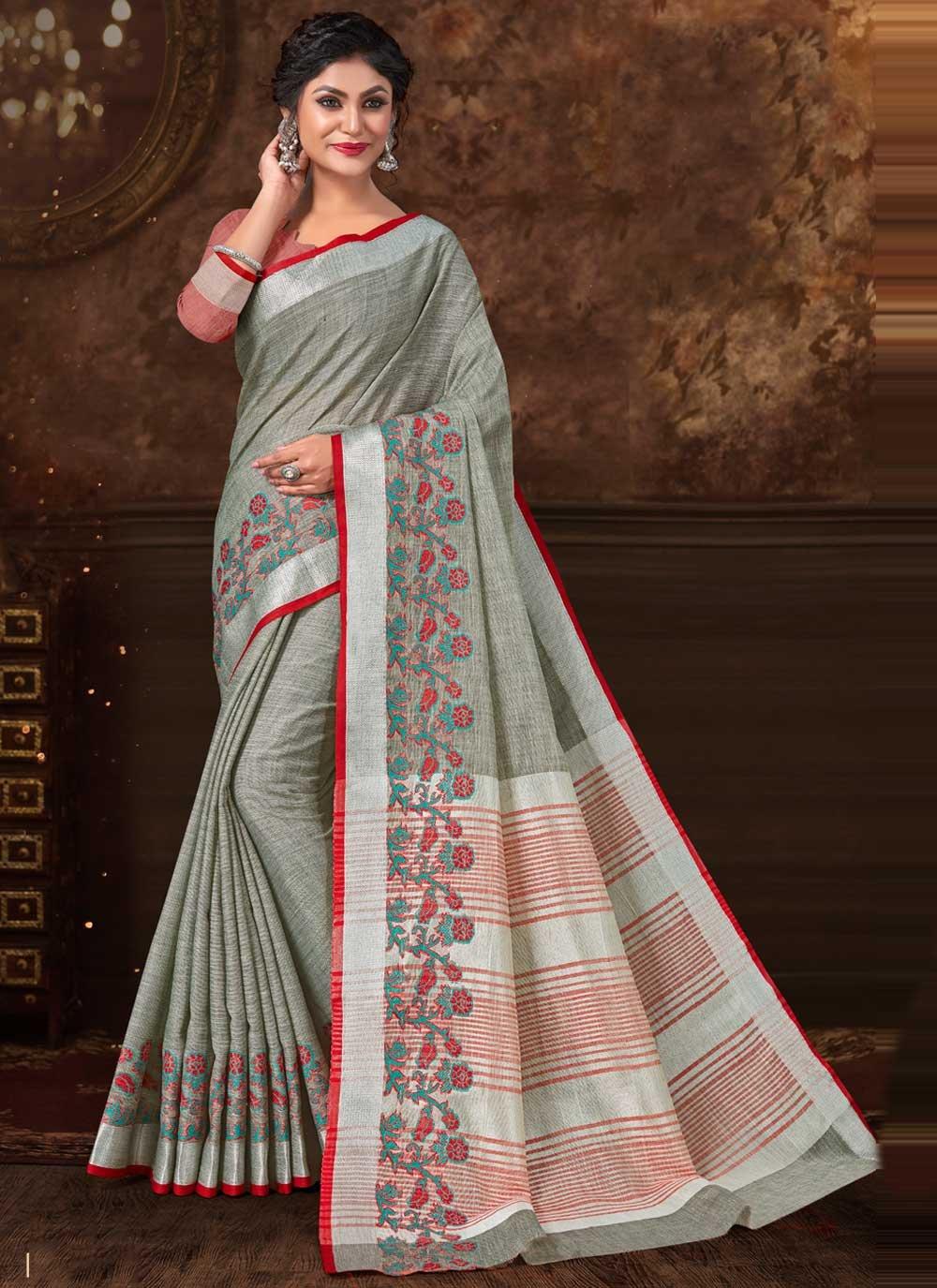 Fancy Fabric Grey Floral Print Trendy Saree