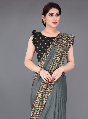 Fancy Fabric Grey Foil Print Printed Saree