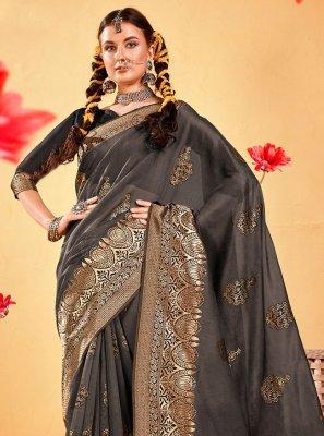 Fancy Fabric Grey Woven Designer Traditional Saree