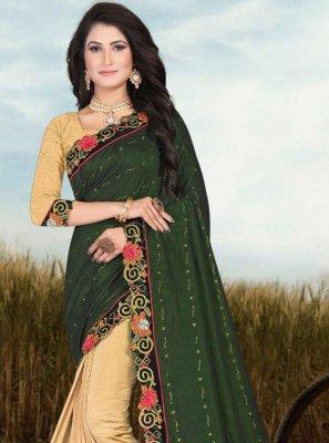 Fancy Fabric Half N Half Trendy Saree in Cream and Green