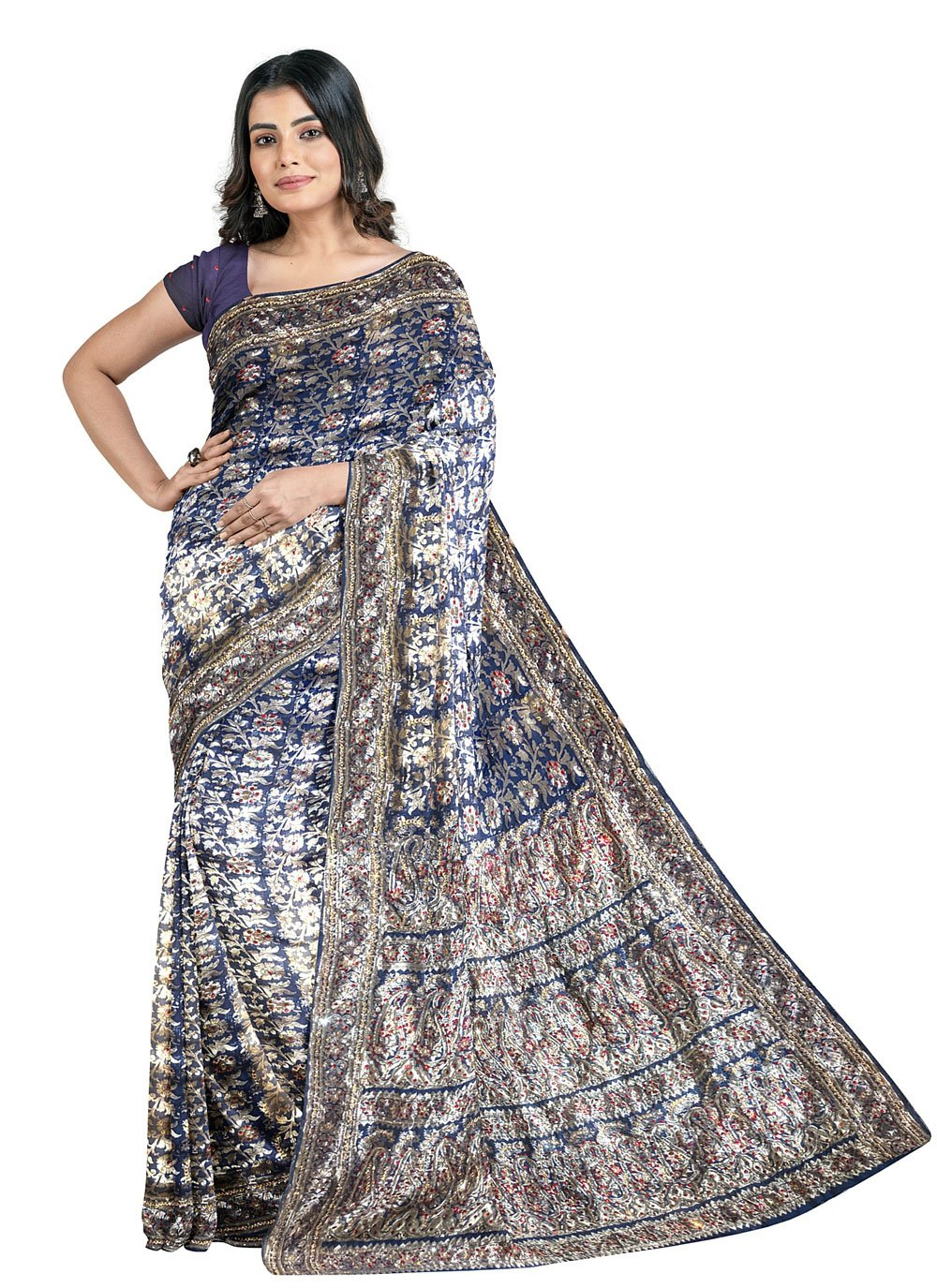 Fancy Fabric Handwork Designer Saree