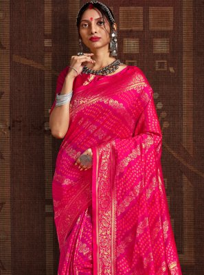 Fancy Fabric Hot Pink Designer Traditional Saree