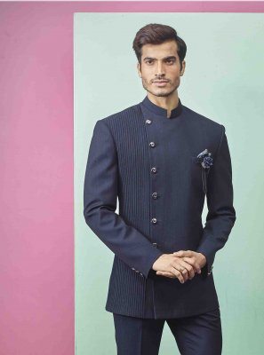 Fancy Fabric Indo Western in Navy Blue