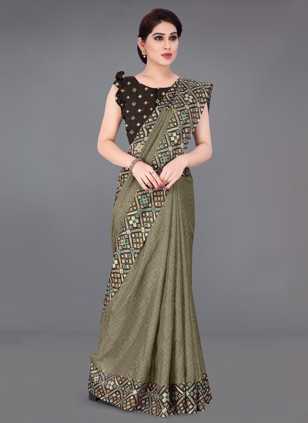 Fancy Fabric Khaki Printed Saree