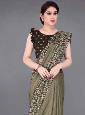 Fancy Fabric Khaki Printed Saree
