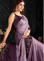 Fancy Fabric Lavender Shaded Saree