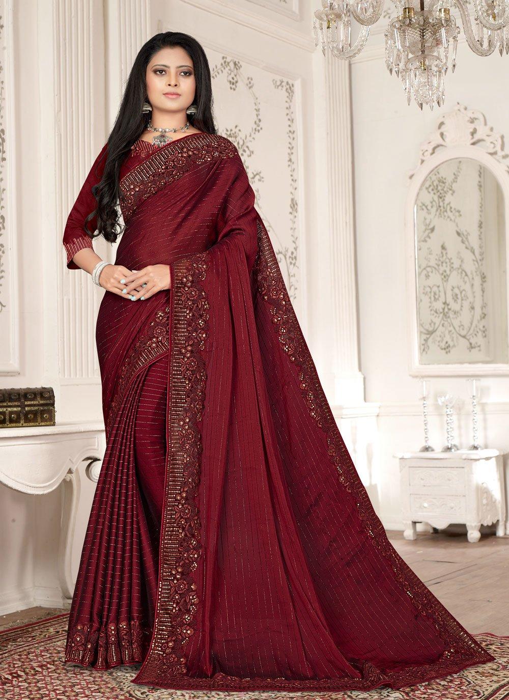 Fancy Fabric Magenta Designer Saree