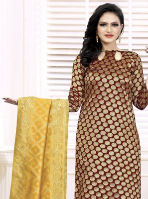 Fancy Fabric Maroon Weaving Churidar Suit