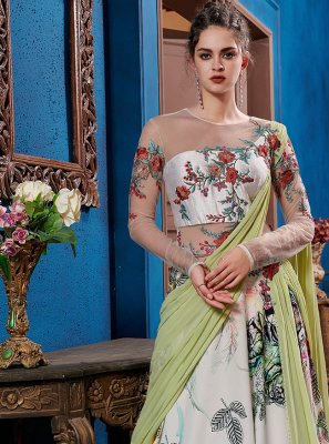 Fancy Fabric Multi Colour Embroidered Designer Gown