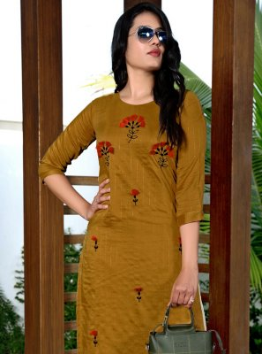 Fancy Fabric Mustard Embroidered Party Wear Kurti