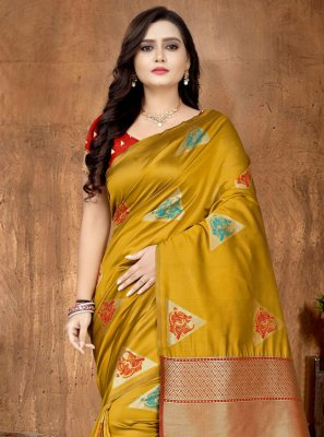 Fancy Fabric Mustard Printed Saree