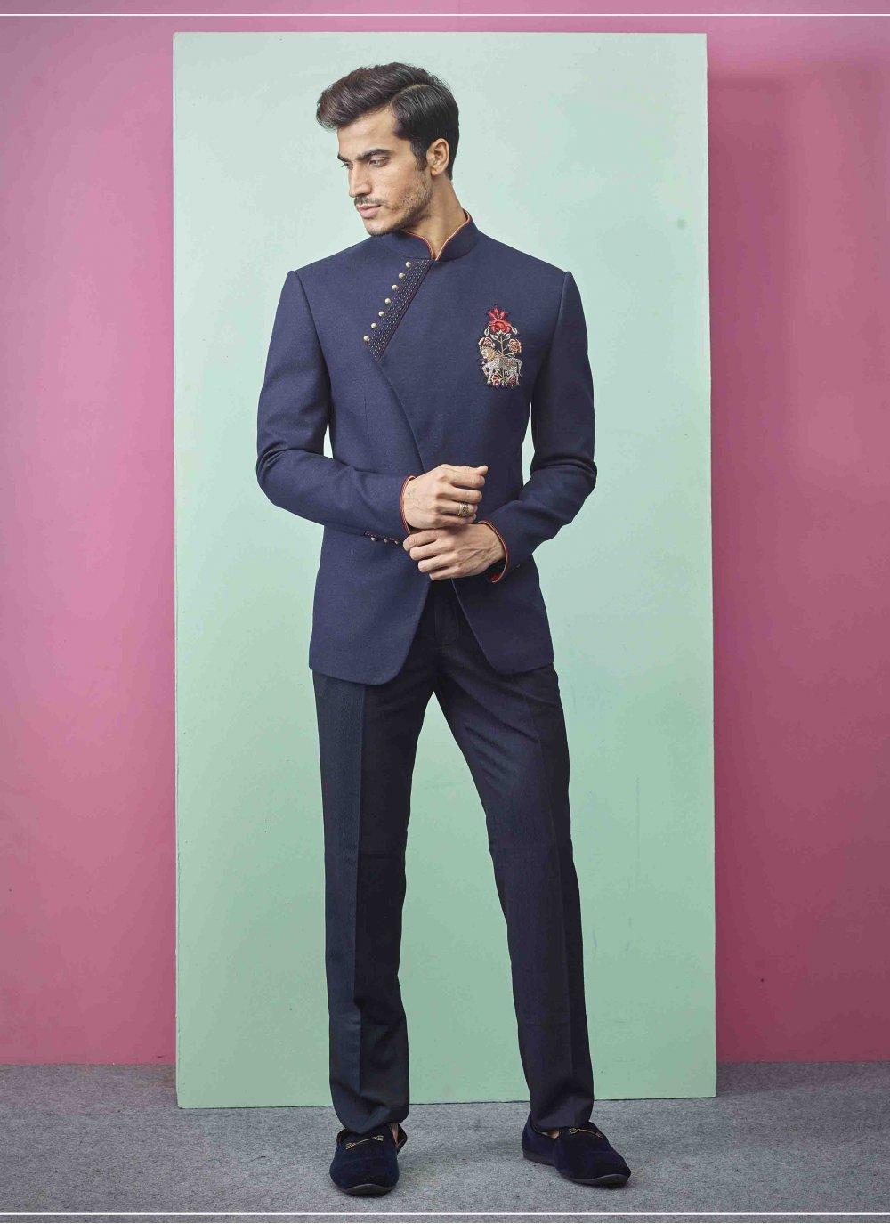 Fancy Fabric Navy Blue Indo Western