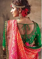Fancy Fabric Orange and Pink Traditional Designer Saree