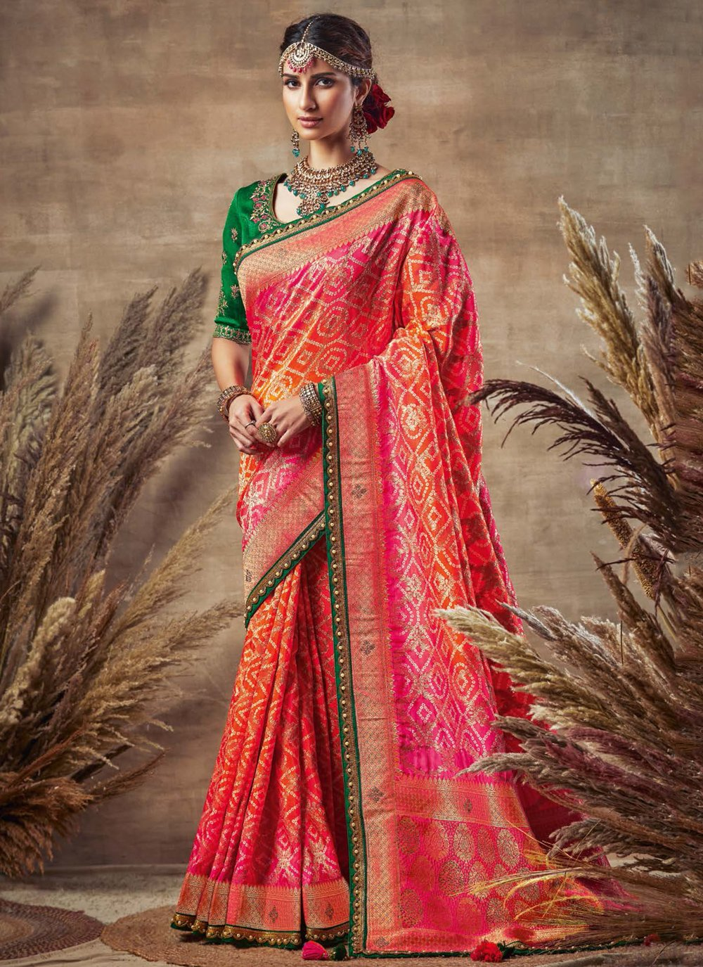 Fancy Fabric Orange and Pink Traditional Designer Saree