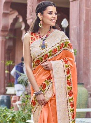 Fancy Fabric Orange Digital Print Traditional Designer Saree