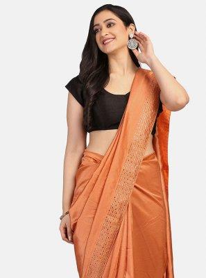 Fancy Fabric Orange Stone Work Classic Saree