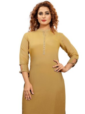 Fancy Fabric Party Wear Kurti in Brown