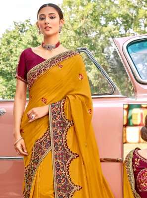 Fancy Fabric Patch Border Designer Traditional Saree in Mustard