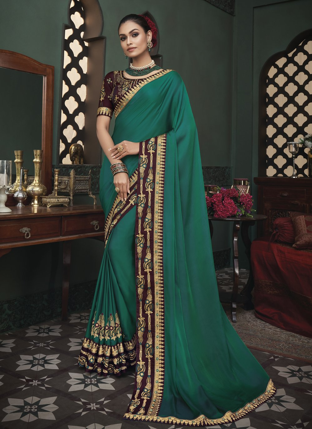Fancy Fabric Patch Border Green Classic Saree