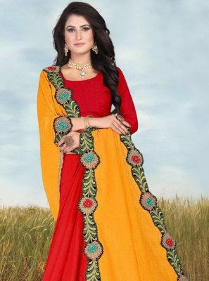 Fancy Fabric Patch Border Half N Half Trendy Saree in Red and Yellow