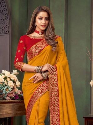 Fancy Fabric Patch Border Mustard Traditional Saree