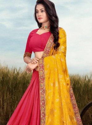 Fancy Fabric Patch Border Pink and Yellow Half N Half Designer Saree