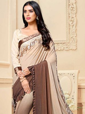 Fancy Fabric Patch Border Shaded Saree in Brown