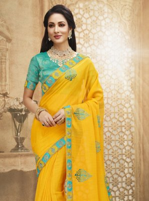 Fancy Fabric Patch Border Yellow Designer Saree