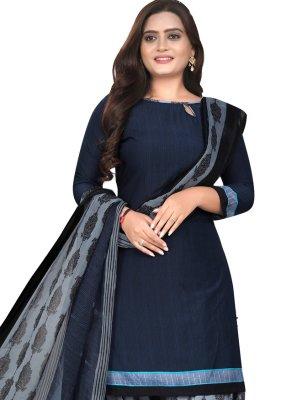 Fancy Fabric Patiala Suit in Navy Blue