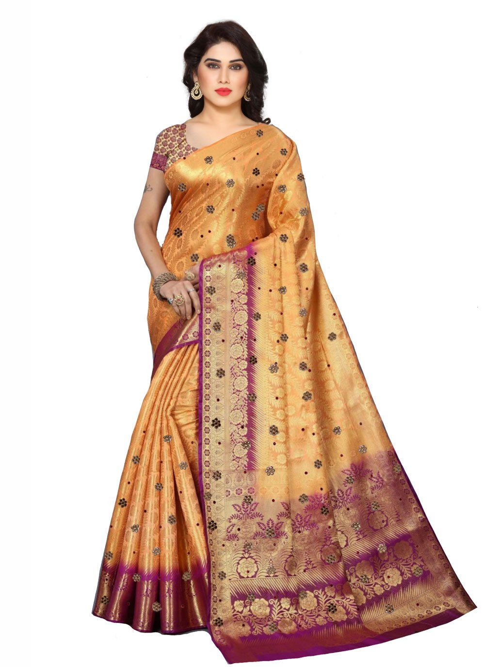 Fancy Fabric Peach Designer Saree