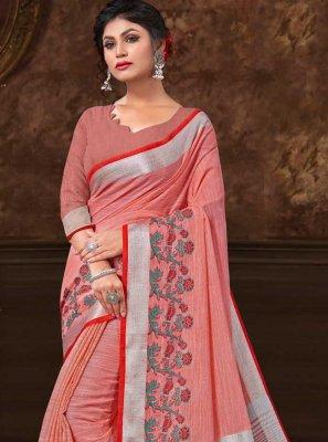 Fancy Fabric Peach Floral Print Classic Saree