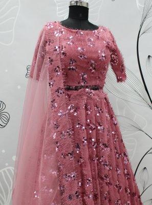 Fancy Fabric Pink Embroidered Lehenga Choli