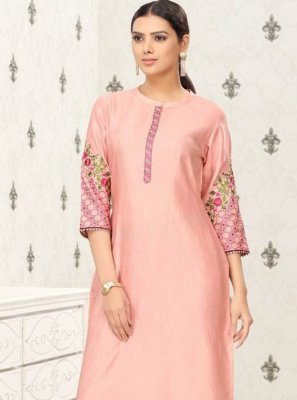 Fancy Fabric Pink Embroidered Party Wear Kurti