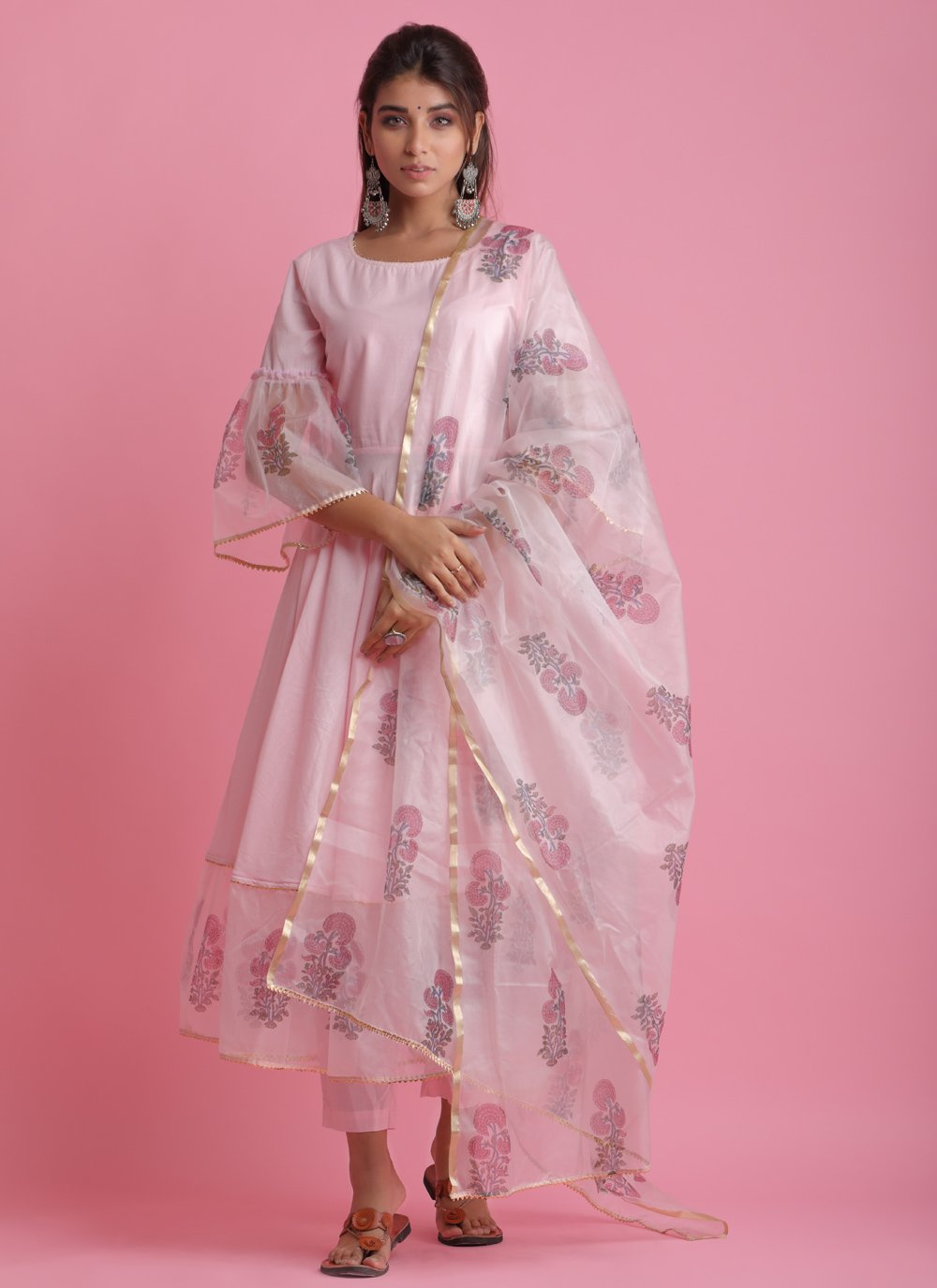 Fancy Fabric Pink Readymade Suit