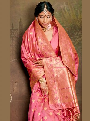Fancy Fabric Pink Weaving Traditional Saree
