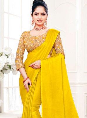 Fancy Fabric Plain Yellow Trendy Saree