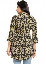 Fancy Fabric Print Casual Kurti in Black