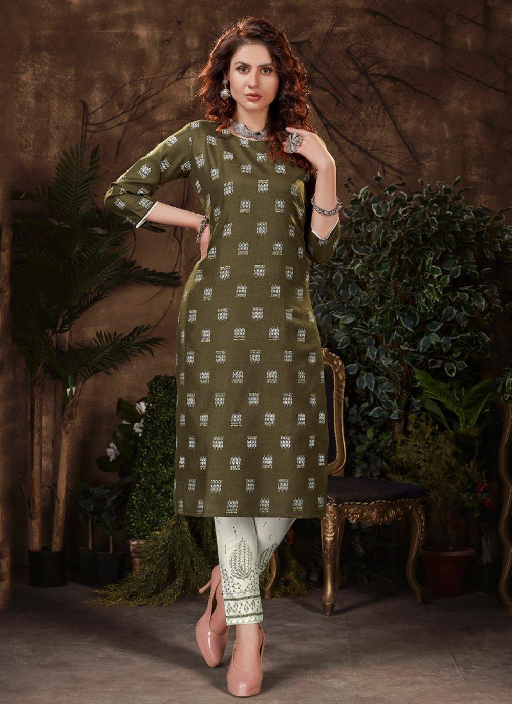 Fancy Fabric Print Green Party Wear Kurti