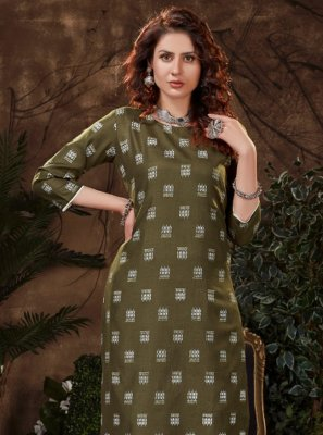 Fancy Fabric Print Green Party Wear Kurti