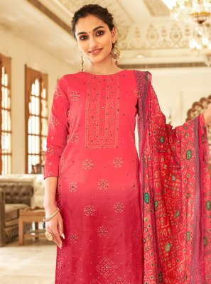 Fancy Fabric Printed Hot Pink Designer Palazzo Salwar Suit